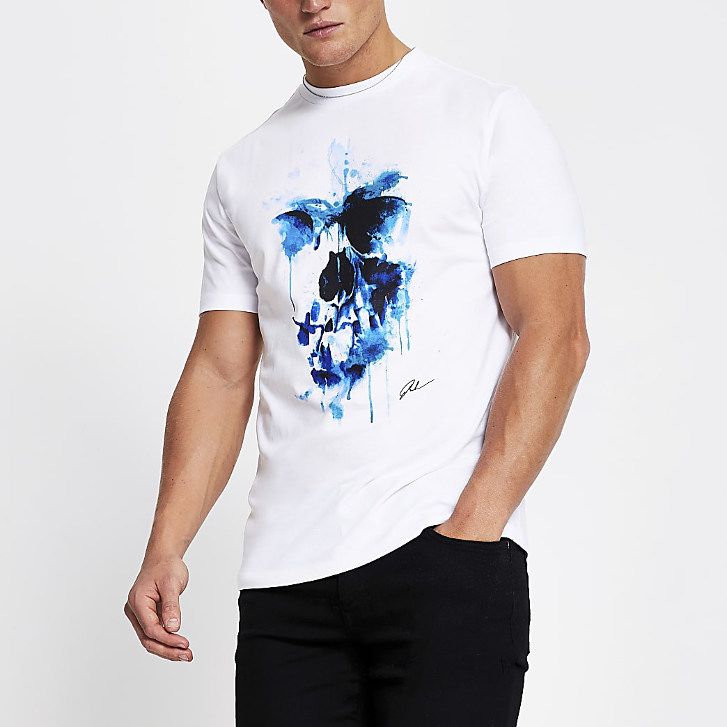 White short sleeve skull splatter t-shirt