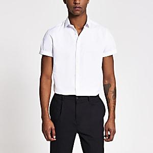 Wit slim-fit overhemd met korte mouwen