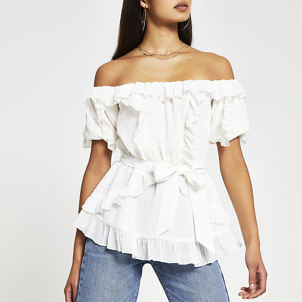 White short sleeve soft frill bardot top