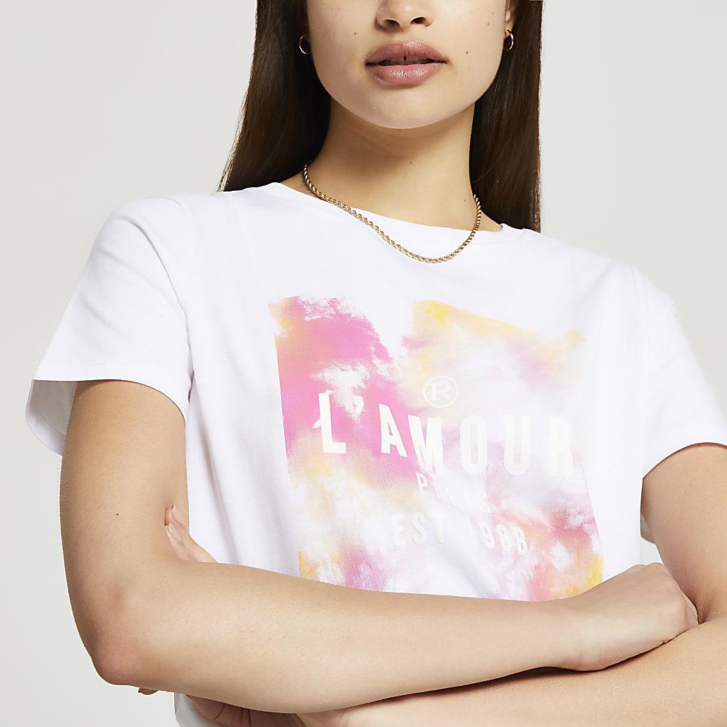 White short sleeve tie dye box t-shirt