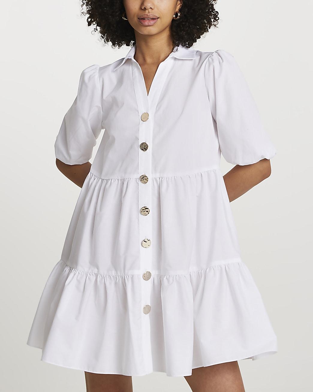 White short sleeve tier shirt mini dress