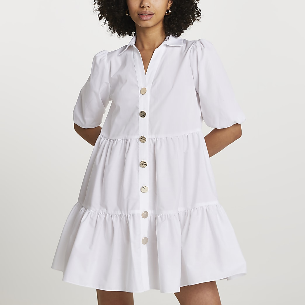 White short sleeve tier shirt mini dress