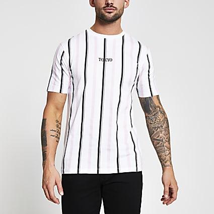 White short sleeve 'Tokyo' stripe t-shirt