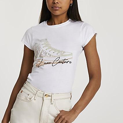 White short sleeve trainer print t-shirt