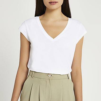 White short sleeve V neck t-shirt