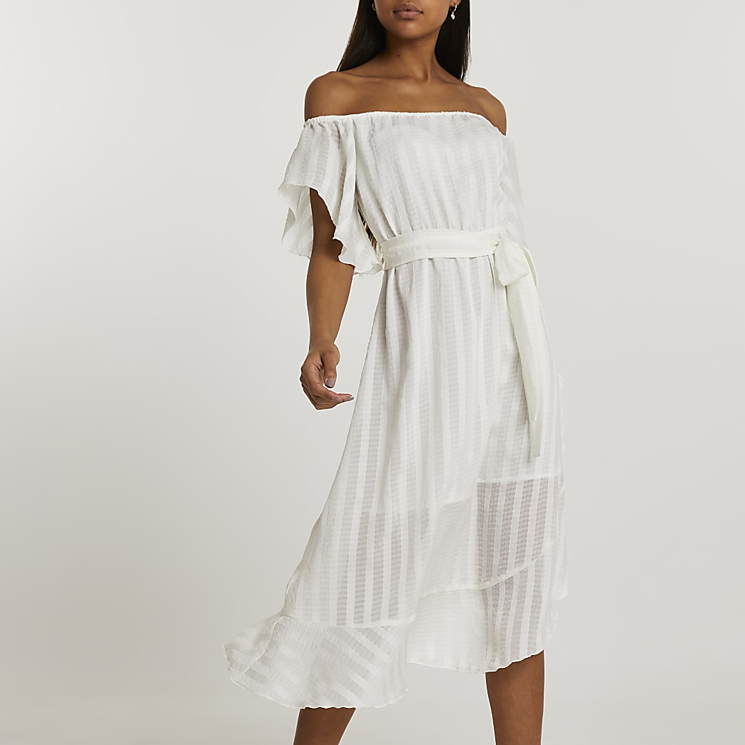 White short sleeve waterfall bardot dress