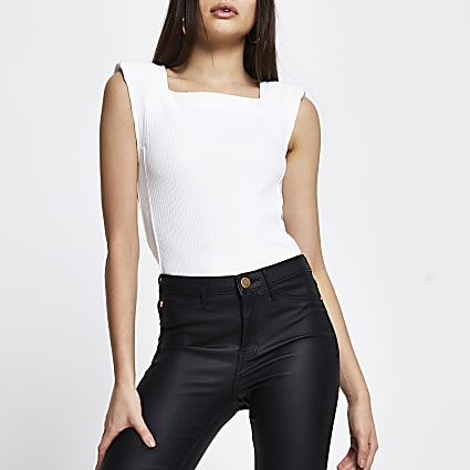 White shoulder pad sleeveless ribbed top