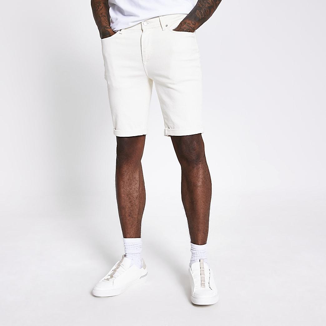 White Sid skinny fit stretch denim shorts