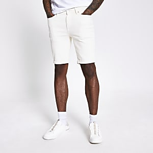 White Sid skinny stretch denim shorts