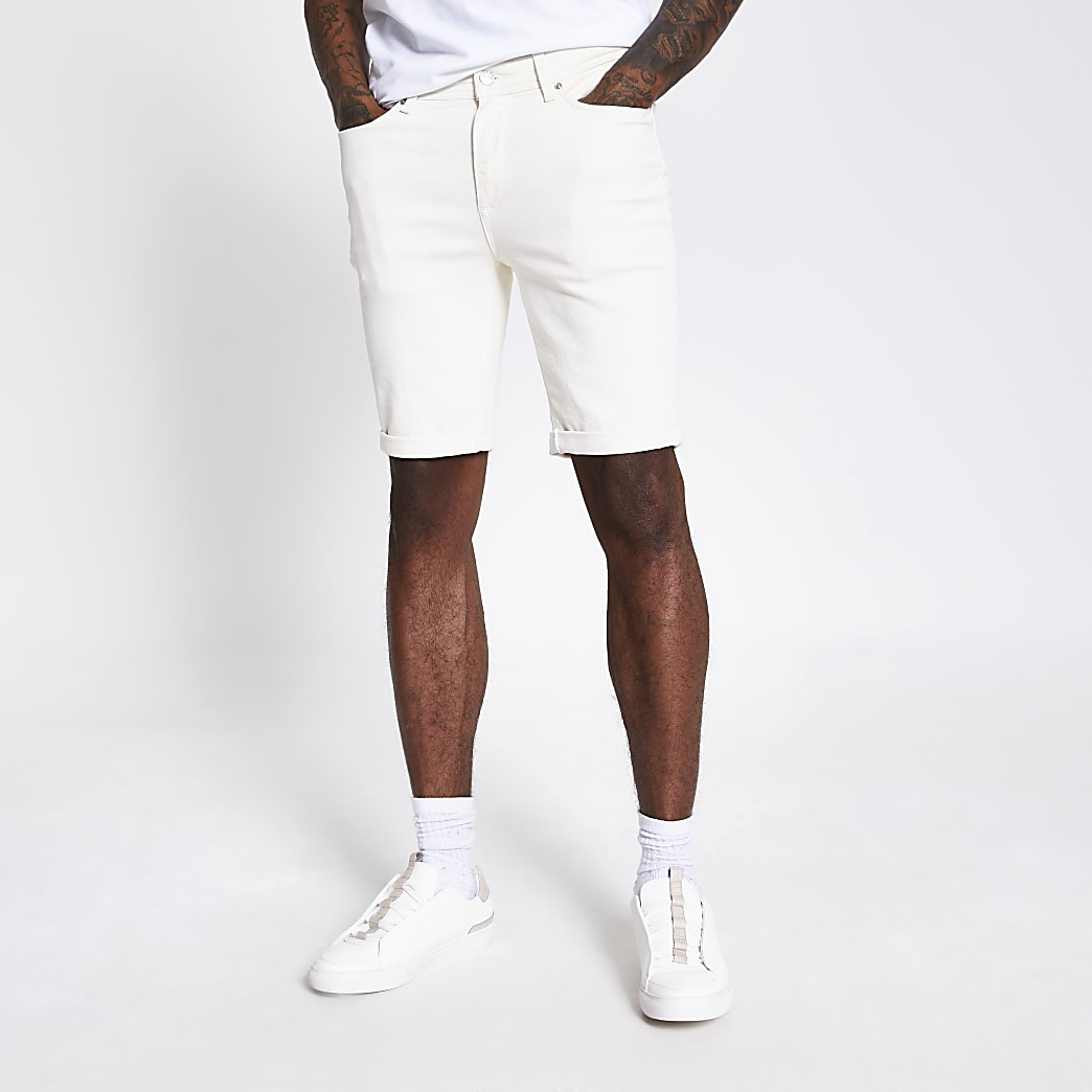 Sid - Witte stretch denim skinny short