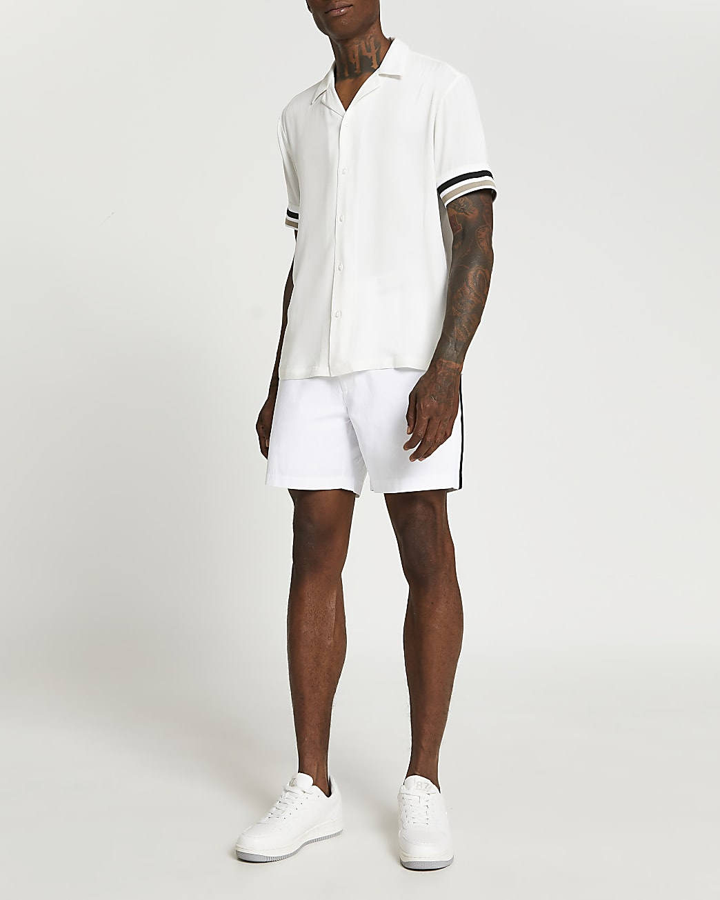 White side stripe elasticated waist shorts