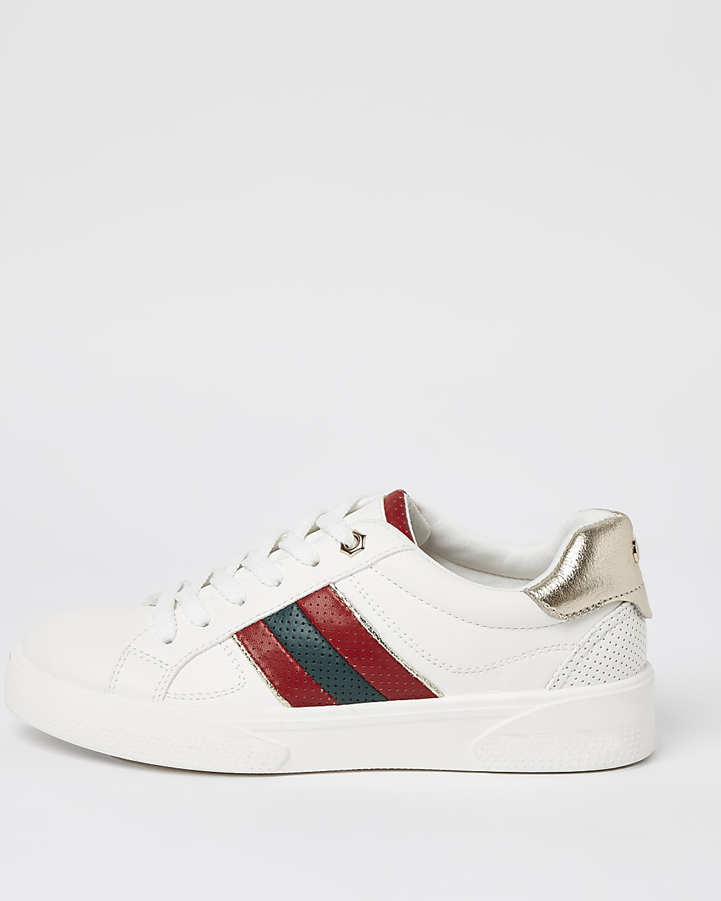 White side stripe lace up trainers