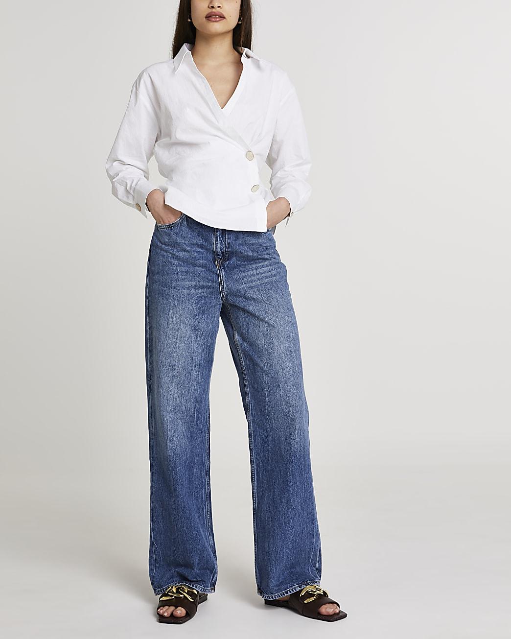 White side tuck long sleeve shirt