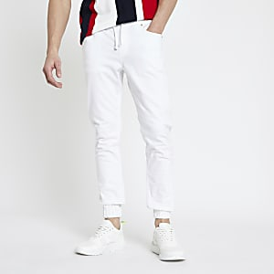 White skinny fit joggers