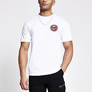 Weißes Slim Fit T-Shirt mit Totenkopfstickerei