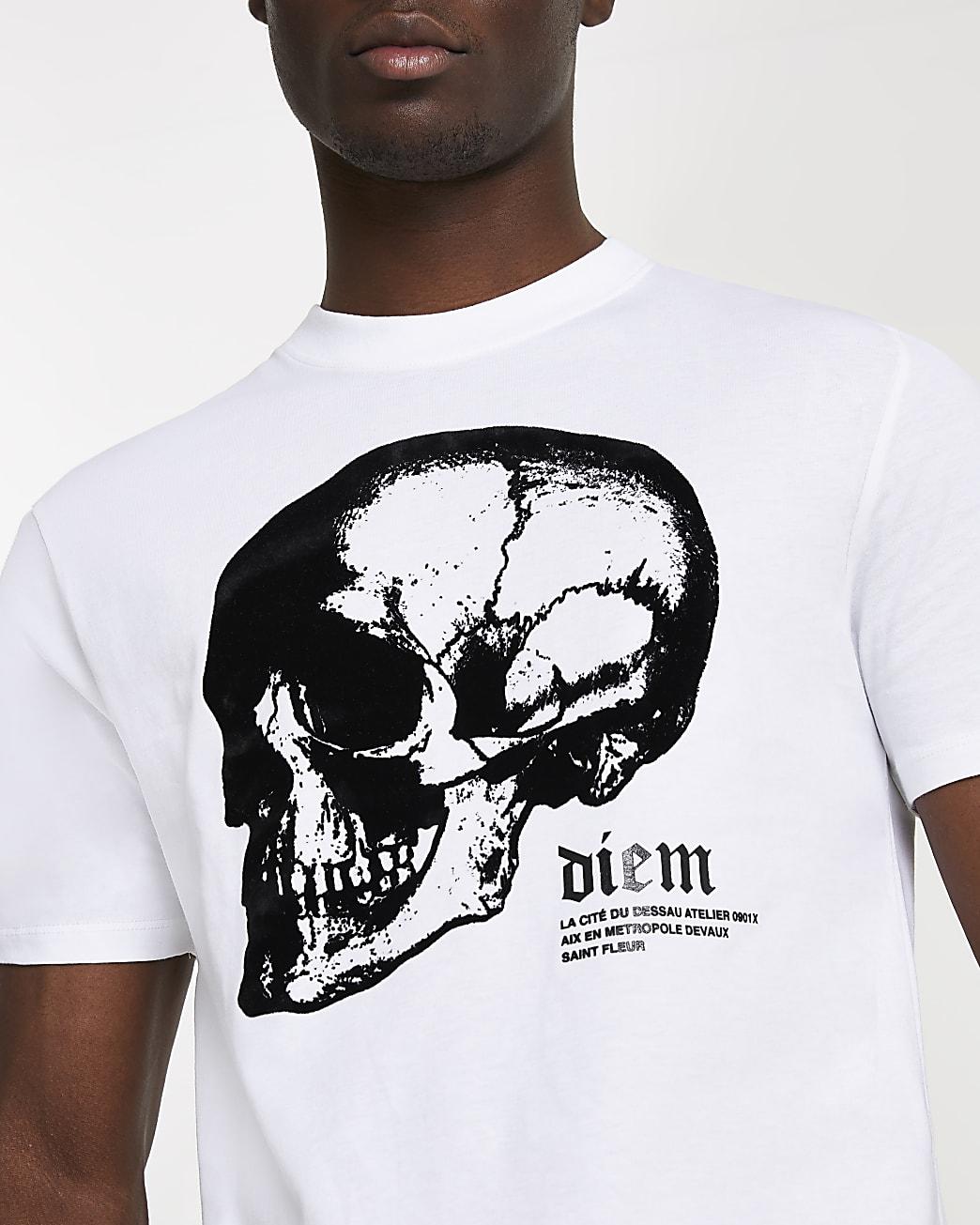 White skull graphic slim fit t-shirt