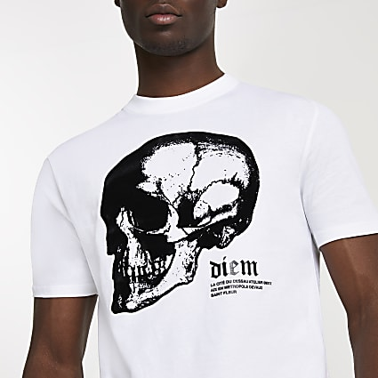White skull graphic slim fit t-shirt