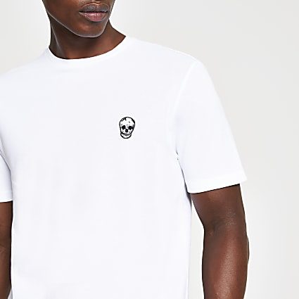 White skull pique slim fit t-shirt