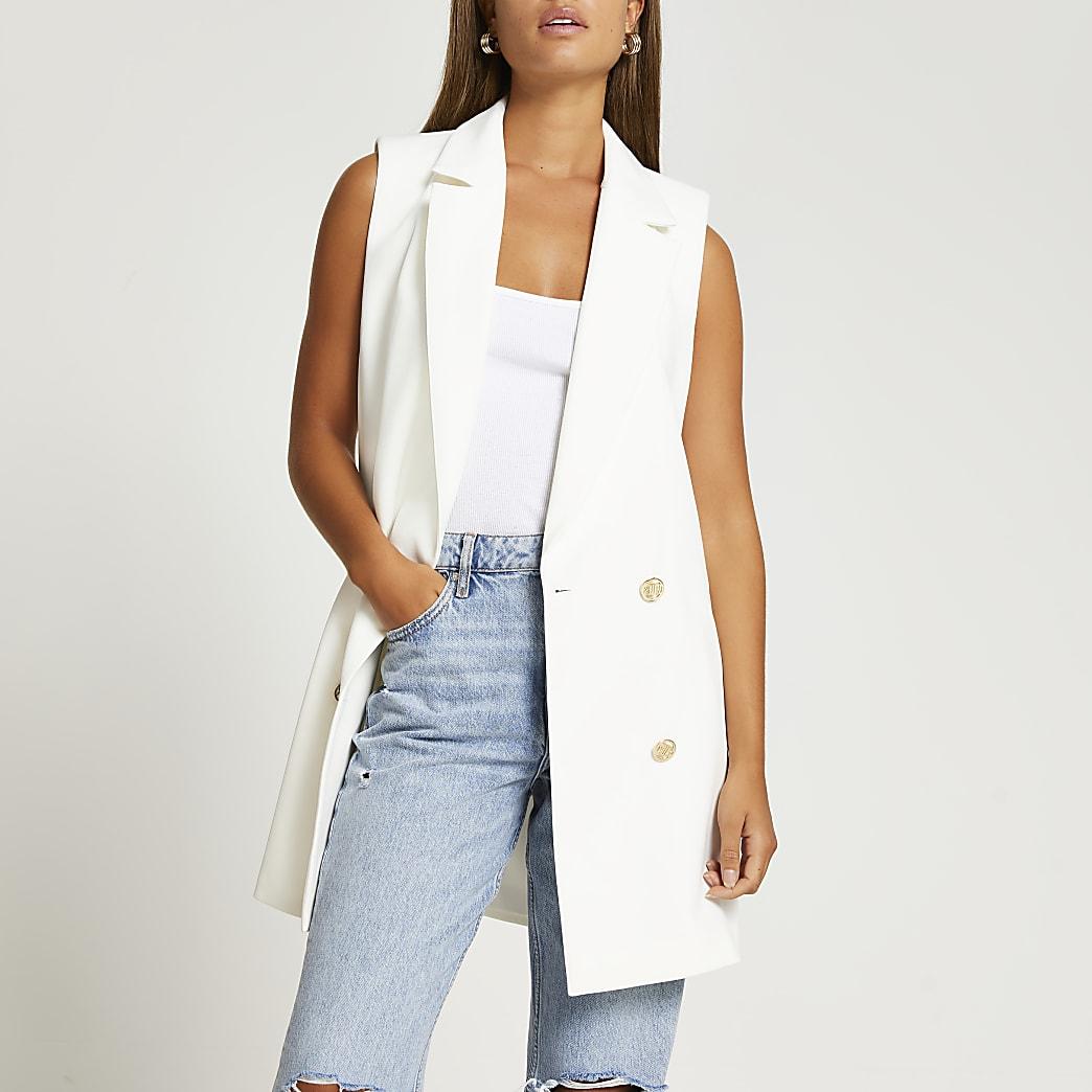 White sleeveless button up blazer
