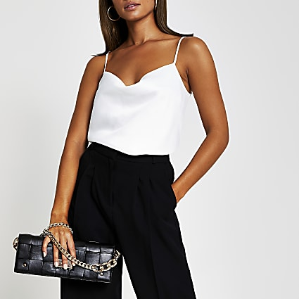 White sleeveless cowl neck cami top