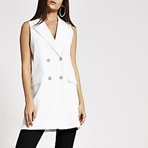 White sleeveless diamante button blazer