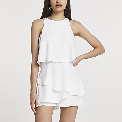 White sleeveless frill layer playsuit