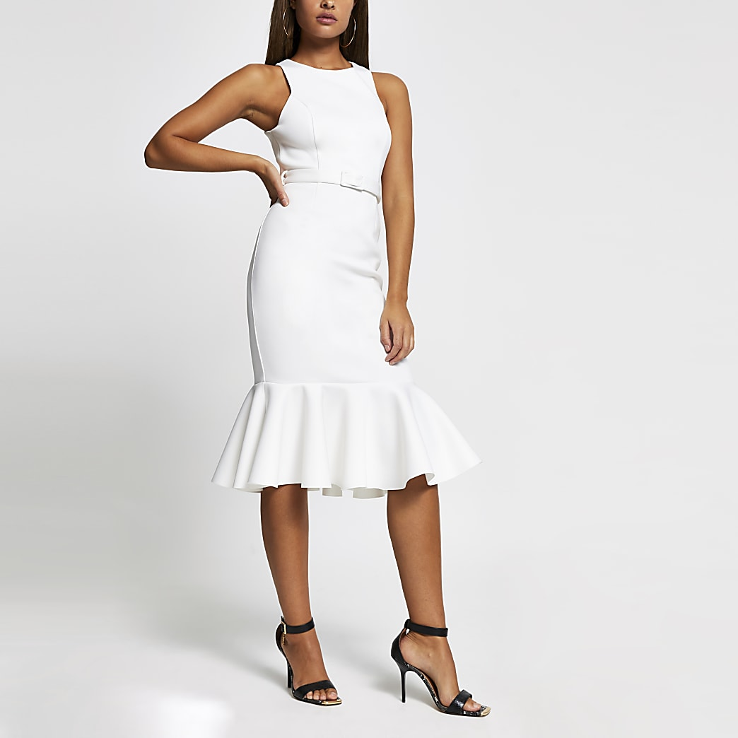 White sleeveless peplum hem belted midi dress