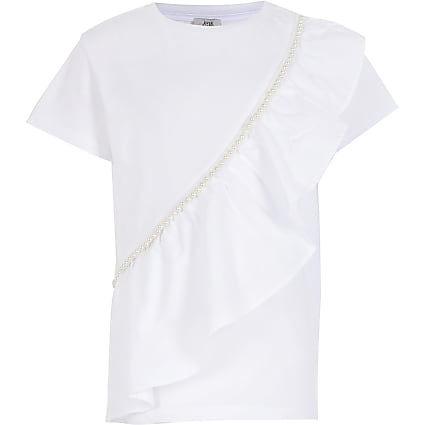 White sleeveless poplin frill t shirt