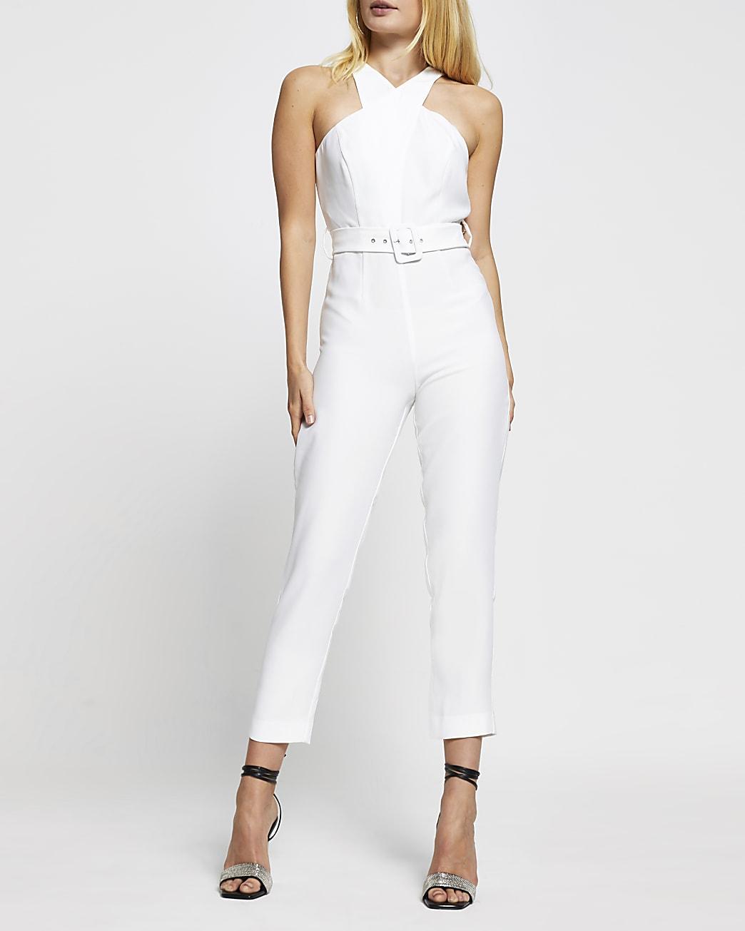 White sleeveless wrap neck jumpsuit