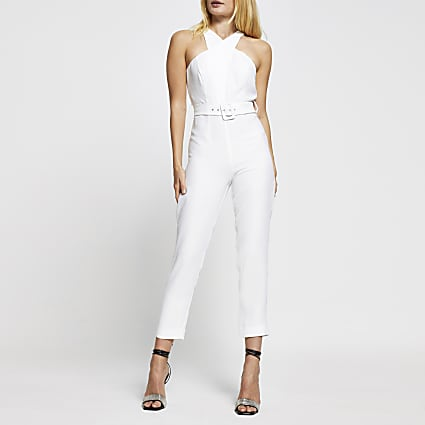 White sleeveless wrap neck jumpsuit