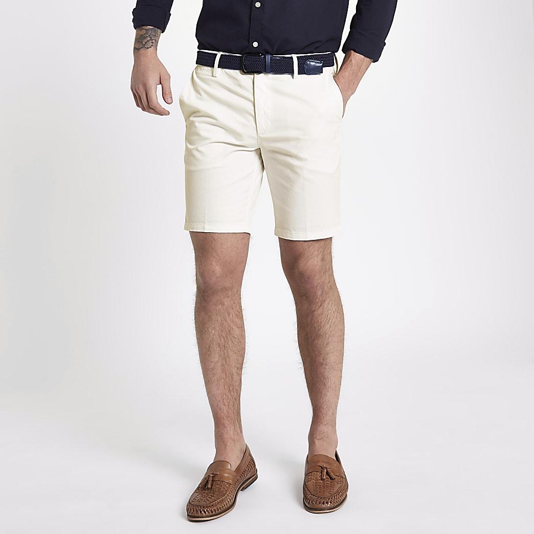 Short slim chino blanc à ceinture