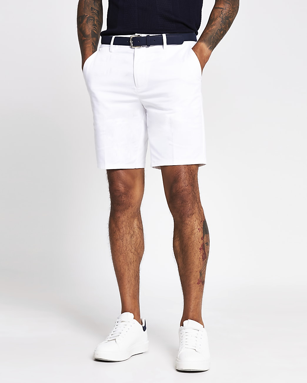 White slim fit belted shorts