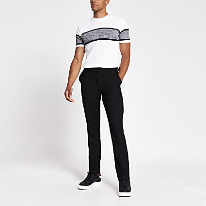 White slim fit block knitted T-shirt