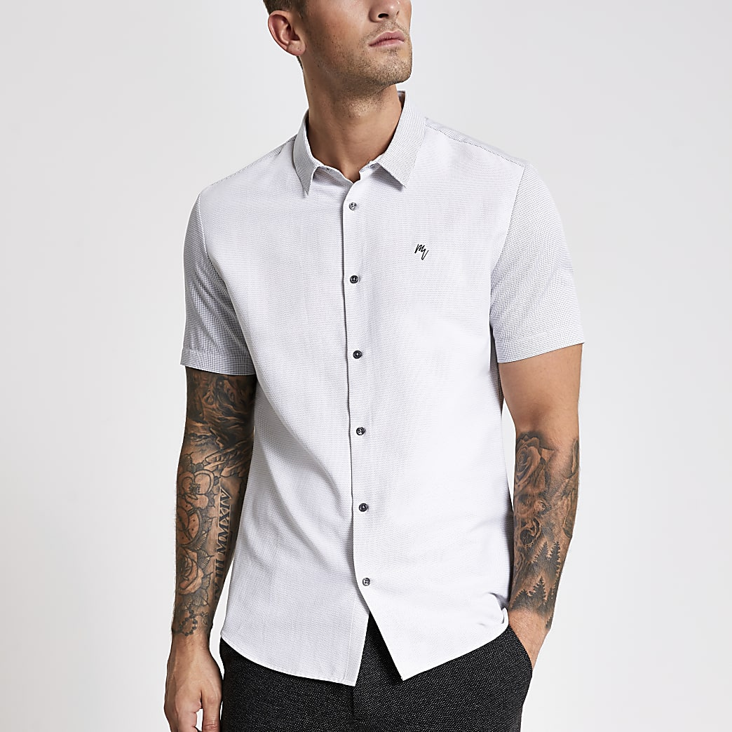 White slim fit blocked Maison Riviera shirt
