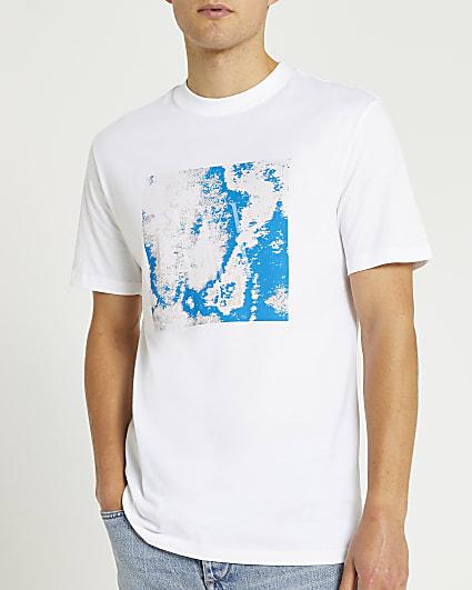 White slim fit box print t-shirt