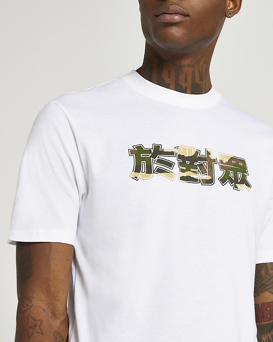 White slim fit camo graphic t-shirt