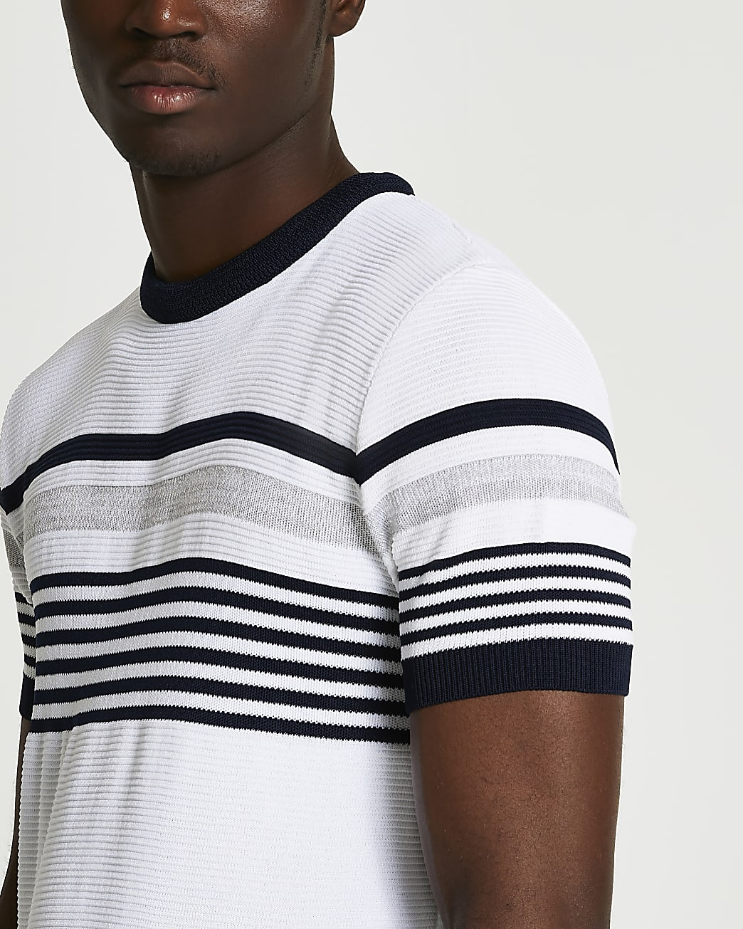 White slim fit colour block ottoman t-shirt