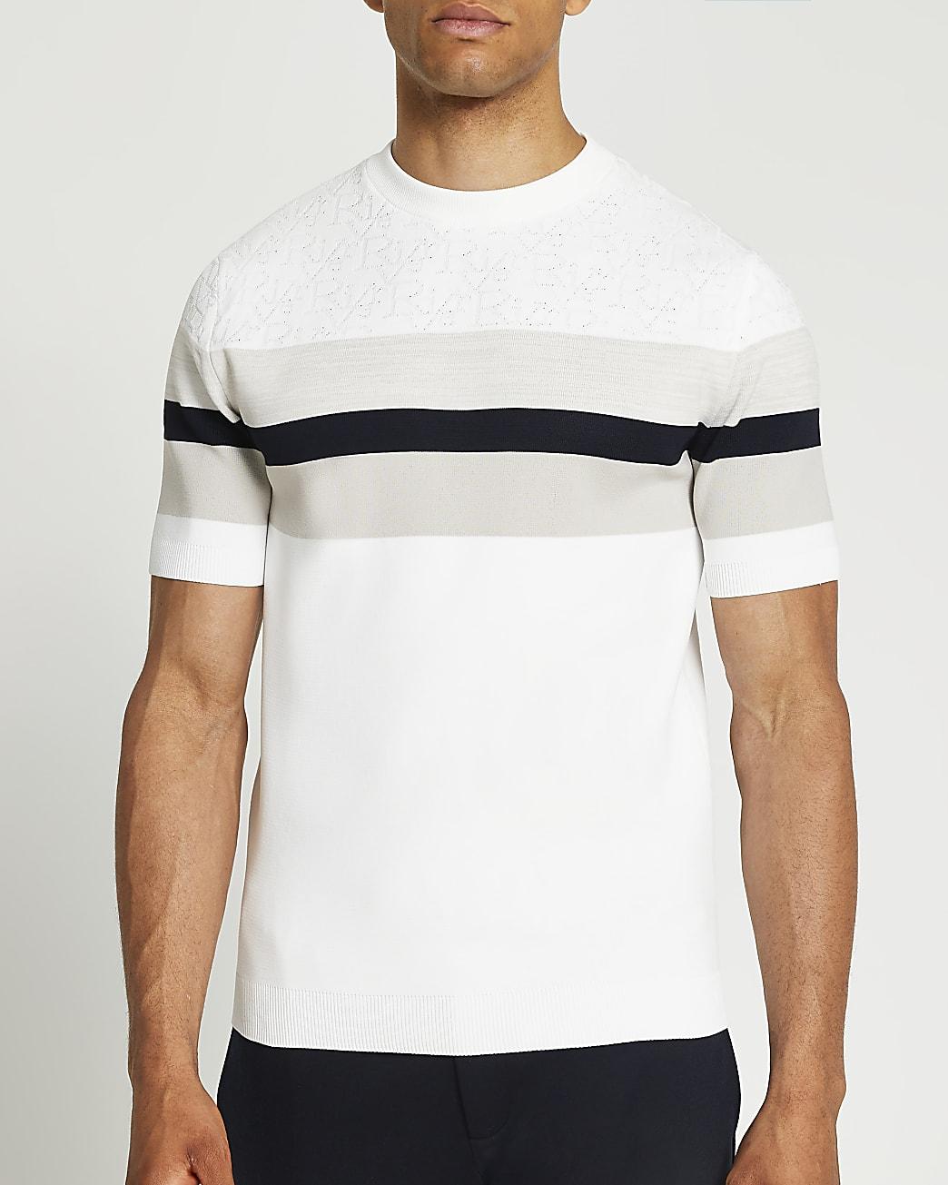 White slim fit colour block t-shirt