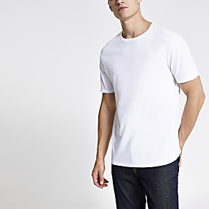 Wit slim-fit T-shirt met ronde hals