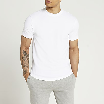 White slim fit curved hem t-shirt