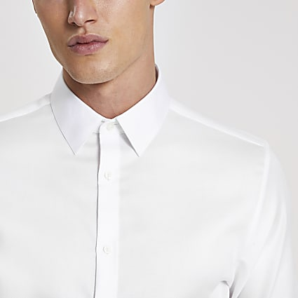 White slim fit Egyptian cotton shirt