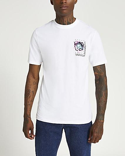 White slim fit graphic t-shirt
