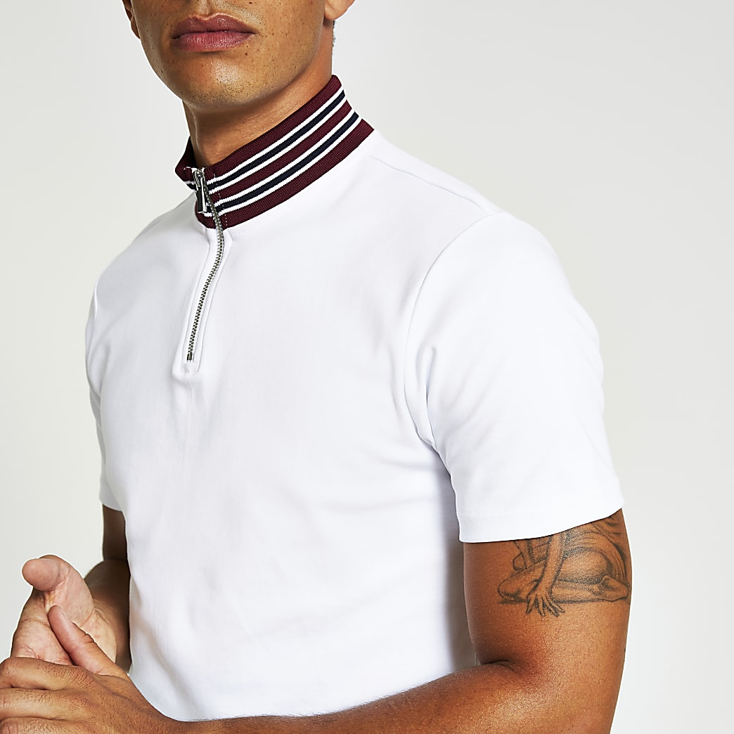 White slim fit half zip funnel neck T-shirt