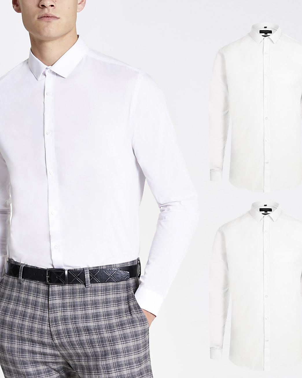 White slim fit long sleeve shirt 2 pack