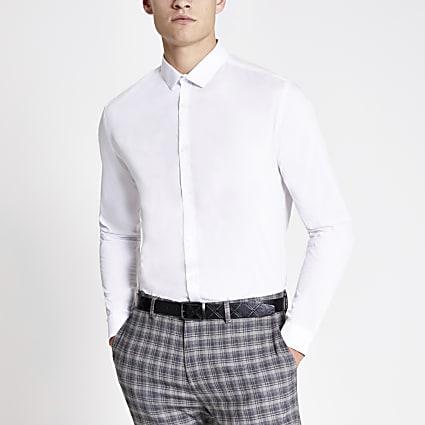 White slim fit long sleeve shirt