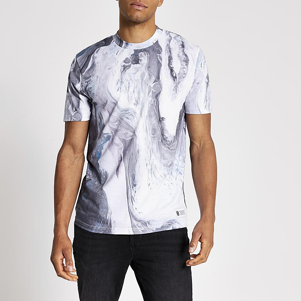 Wit slim-fit T-shirt met marmerprint