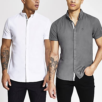 White slim fit oxford shirt 2 pack
