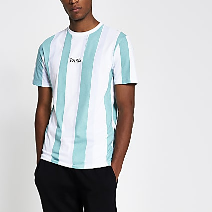 white slim fit paris vertical stripe t-shirt