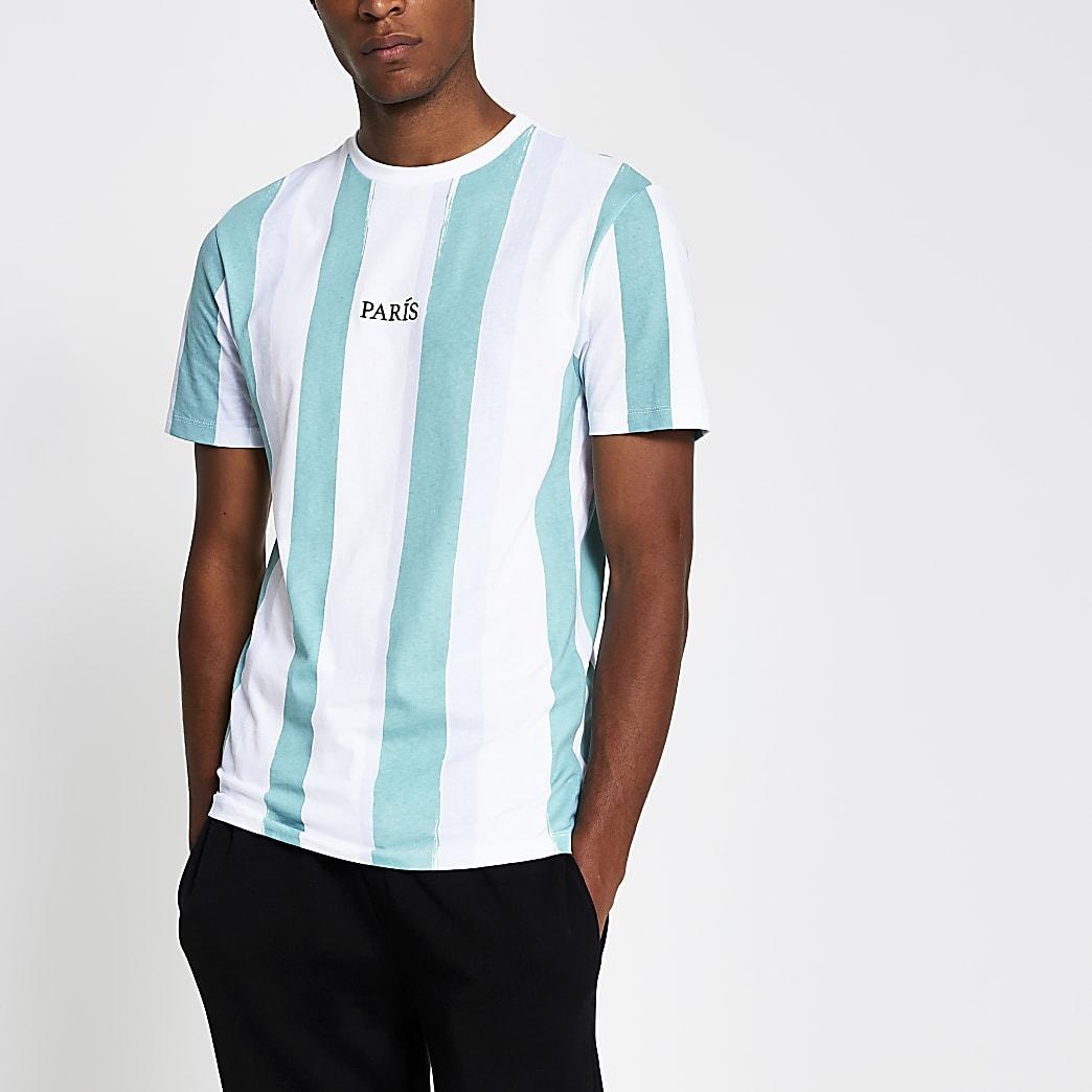 white slim fit paris vertical stripe t-shirt