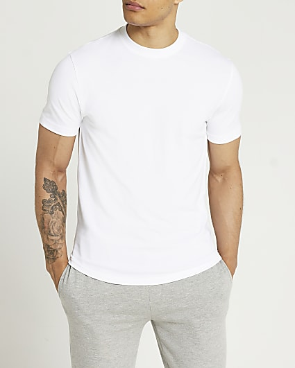 White slim fit pique curved hem t-shirt